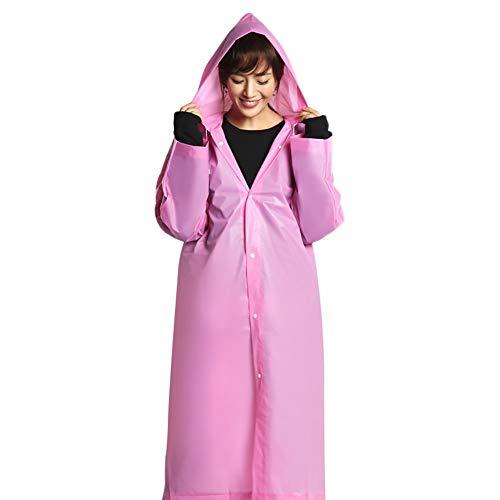 G&F Adulte Réutilisable Imperméable avec Capuche Et Manches Matériau EVA Portable Poncho Étanche Vêtements Pluie 150g (Color : Pink)