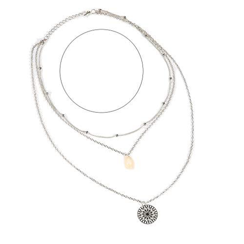 LIGHTBLUE - Gargantilla con capas de concha de mar bohemia con colgante multicapa para mujer
