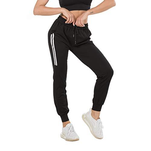 Pantalón Chándal y Deportivo para Mujer Pantalones de Estilo Libre Largo Suelto Elástico para Corredores Pantalón con Bolsillos y Cordón Ajustable para Deporte Yoga Gimnasio (Negro Rayas, L)