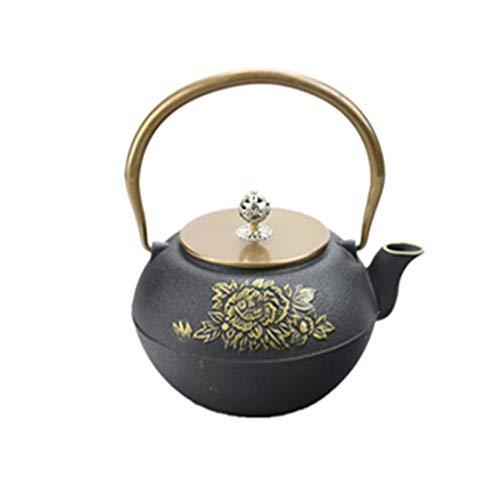 Tetera de hierro fundido Drawn fundido del hierro del pote del té de China personalizada del aniversario de la tetera de la mano 1000ml flor del Peony Un gran regalo Para té de hojas sueltas y bolsita