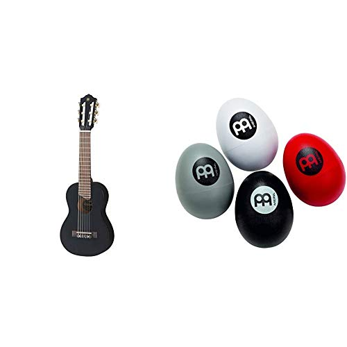 Yamaha GL1 Guitalele, Mini guitarra de madera con las dimensiones de un ukulele, escala de 17 pulgadas, 6 cuerdas de nylon, color Negro + Meinl Percussion ESSETHuevo de percusión, 4 piezas
