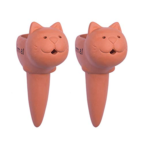 Plant Watering Spikes Self Watering Spikes Terracotta Watering Spike for Small and Medium Sized Plants, Self-Watering Stakes for Indoor Plants 2 Pack (Medium -cat)
