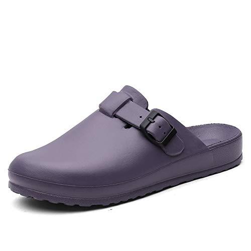 COMAJUMATO Zuecos para mujer y hombre con plataforma ajustable y zapatos de enfermería para jardín, negro (Púrpura/Ombre Force.), 42 EU