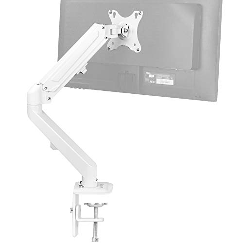VIVO Articulating Single 17 to 27 inch Pneumatic Spring Arm Clamp-on Desk Mount Stand, Fits 1 Monitor Screen with Max VESA 100x100, White, STAND-V101WO