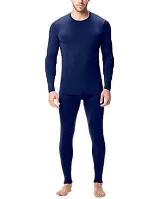 LAPASA Men's Lightweight Thermal Underwear Long John Set Fleece Lined Base Layer Top and Bottom M11 (Large, Navy)