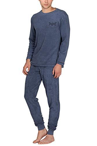 Moonline - Herren Frottee Schlafanzug mit Rundhals-Ausschnitt, Farbe:blau, Größe:XL