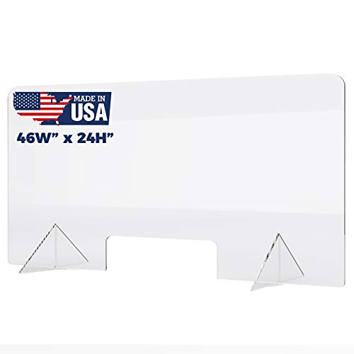 Plexiglass Sneeze Guard - Protective Freestanding Shield Guards Against Sneezing and Coughing/Transaction Window for Offices and Stores (46'W x 24'W)