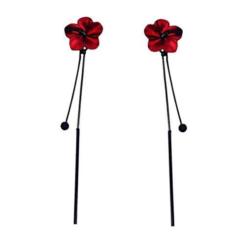 GLJYG Pendientes de borlas de flores, aleación de cinc, cadena larga, vintage, elegante, regalo de joyería para mujeres y niñas, color rojo