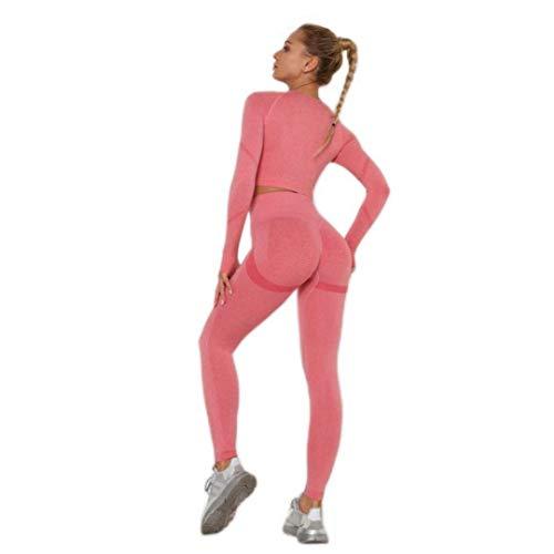 ADDYZ Pantalones de yoga sin costuras flexiones de las mujeres gimnasio deportes fitness yoga cintura alta línea de sentadilla corrección deportes energía ejercicio piernas