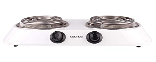 Taurus Alpha Duo Parrilla Doble, 1650W, 5 Temp, color Blanco, Paquete de 1