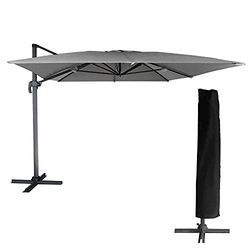 BENEFFITO OAHU - Parasol Déporté avec Housse de Rangement - Inclinable Rotatif et Rabattable - Protection UV - Ouverture Facile - Gris/RECTANGULAIRE 3X4M