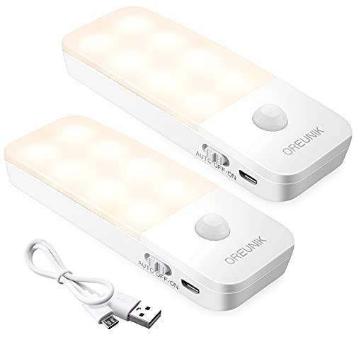 Luz Nocturna, Oreunik Luces LED Armario con Sensor Movimiento (2 Pack), Lámpara Nocturna Recargable(Auto/ON/OFF), Luz Cálida para Armario, Pasillo, Escalera, Sótano, Cocina, Garaje, Gabinete