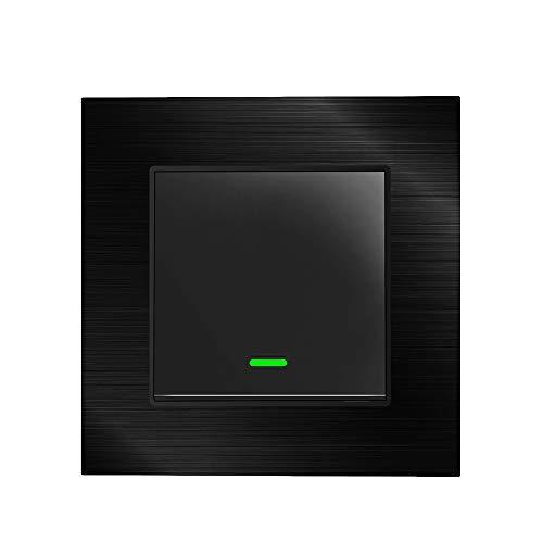 Alexa Lichtschalter Smart Lichtschalter Metallabdeckung, mit Fernbedienung und Timer, Alexa Echo-Schalter, kompatibel mit Alexa Echo, Google Home, kein Hub erforderlich, Metall (1 Gang) (Werbaktion)