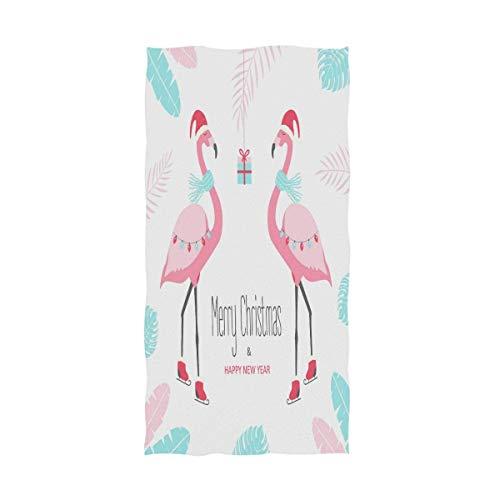 OCEAN AN Chic Christmas Style Flamingo - Toallas de Mano Decorativas, Grandes, Multiusos (15.7'x27.5, Blanco Rosa)