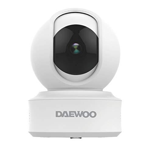 DAEWOO - Telecamera interna IP501, Full HD 1080P, sistema audio bidirezionale, motorizzato, rilevamento di movimento, visione notturna, bianco
