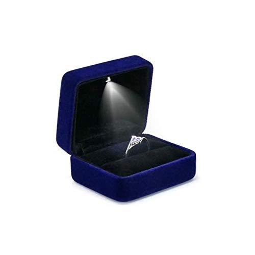 LaMure Square Velvet Ring Case Gift Box met LED Licht, Engagement Ring Oorbel Sieraden Case Box voor voorstel verloving Bruiloft