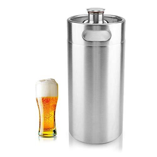 Mini barril de cerveza de acero inoxidable, cerveza de acero inoxidable Homebrew Barrel con tapa en espiral tapa cerveza Craft barril portátil para el hogar suministros de Hotel(3.6L)