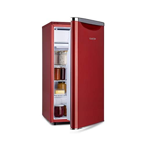 Klarstein Yummy - Nevera, Descongelación semi-automática, EEC F, Nivel ruido 41 dB, Congelador hasta -3 °C, Revestimiento cromado, 45 x 85 x 48 cm, Capacidad de 90 Litros, Rojo
