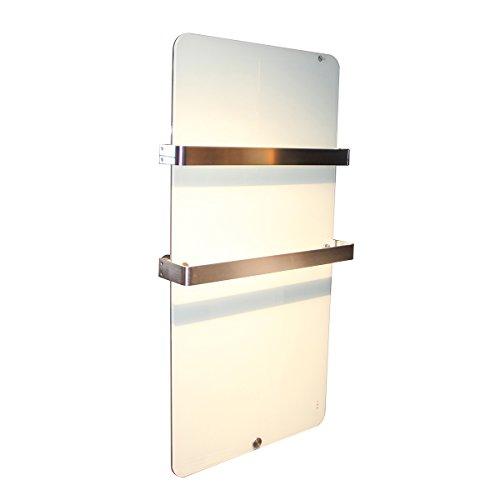 Infrarot heizung 600 Watt Glas handtuchtrockner badezimmer-elektroheizung mit Thermostat Design Elektrischer Heizkörper doppelte Glaswand montierte weiße Farbe