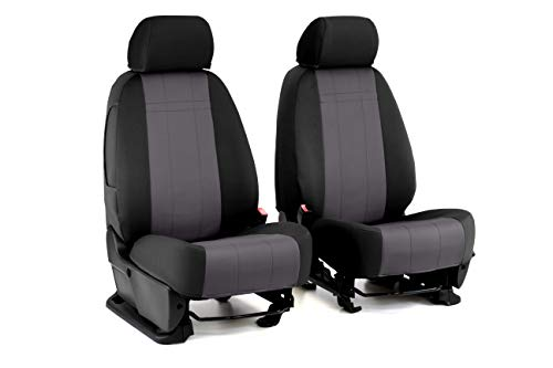 Front Seats: ShearComfort Custom Neoprene-Style Seat Covers for Toyota Tacoma (2009-2011) in Black w/Charcoal for Sport Buckets w/Adjustable Headrests (TRD and X Runner)