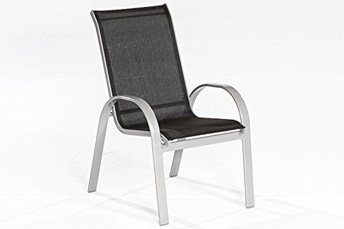 MERXX Garten-Stapelsessel Alugestell Textilbespannung schwarz 2 Sessel