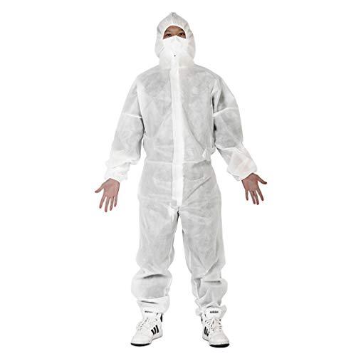 Unisex Tuta Protettiva Lavabile con Cappuccio?Indumenti Protettivi Tuta Antipolvere Antistatica Protective Clothing per Donna Uomo (Bianco,L)