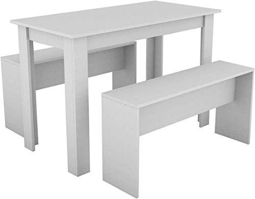 Muebles de madera mesa de comedor con dos bancos, mesa de la cocina y dos trajes de sillas,White