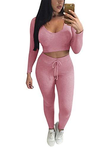 Minetom Damen 2 Stücke Set Outfit Sport Yoga Fitness Bodycon Slim Jogginganzug U-Ausschnitt Langarmhemd Jumpsuit Crop Top + Leggings Slim Fit Rosa DE 38