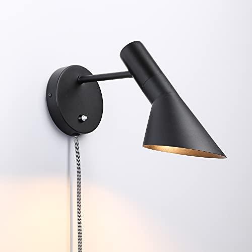 BarcelonaLED Aplique de Pared con Cable Enchufe e Interruptor Lámpara de Lectura Diseño Elegante Moderno Nórdico Orientable Negro E27