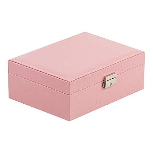 plhzh Organizador de Caja de joyería para Collar, Pendientes, Pulseras, Anillos, Accesorios, Gran Almacenamiento de joyería de Cuero PU-Pink
