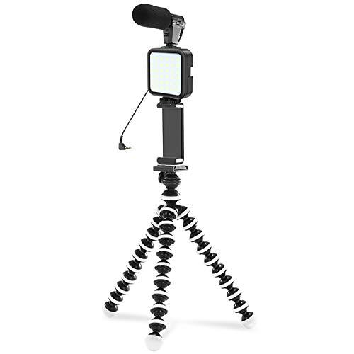 Indovis KIT-03LM Video Kit Vlogging Kit | für Smartphone DSLR Camcorder | Shotgun-Mic - LED-Videoleuchte - Flexibles Stativ - Smartphone-Halter - 3,5 mm TRRS-Kabel - Funkfernbedienung