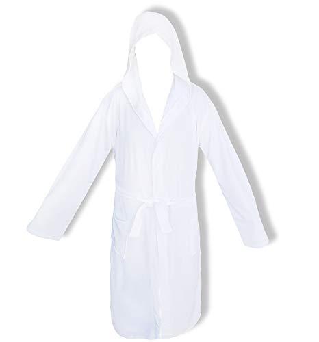 Bademantel für Damen mit Kapuze Perlarara Größe S - M - L - XL - XXL Neuheit Baumwolle Frottee Lacoste Salvaspazio (Weiß, S/M - 42/46)