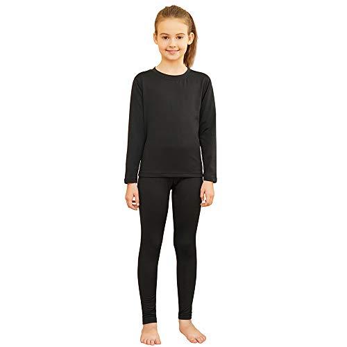Girls Thermal Underwear Set Ultra Soft Fleece Lined Kids Long Johns Top Bottom Thermals Kids Base Layer Winter Warm Black