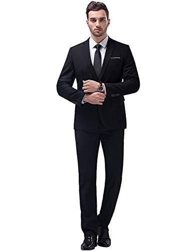 YIMANIE Men's Suit Slim Fit One Button 2 Piece Suit Tuxedo Business Wedding Party Casual Black