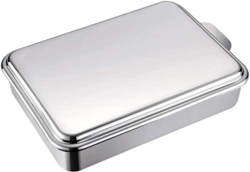 Mr Rudolf Stainless Steel 9 x 13 Inches Cake Pan with Lid,Classic Rectangle Covered Bakeware, Silver Baking Pan