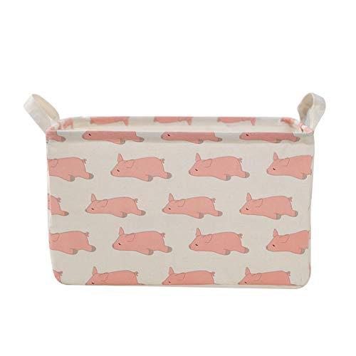 Parshall Caja de almacenamiento plegable de tela de lona plegable con asas para dormitorio, oficina, habitación de niños, rosa Maialev-2