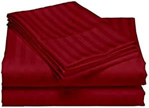 "AVI Cotton Classic Strips Bed Sheet 300 TC with 2 Pillow Cover, 108""x 108"" Inches, Red"