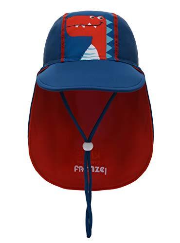 Foruhoo Baby Mütze UV-Schutz 50 mit Kordelzug for Jungen, Breite Krempe Sommerhut Sonnenhut (53cm / 3-6 Jahre, Dinosaurier Blau)