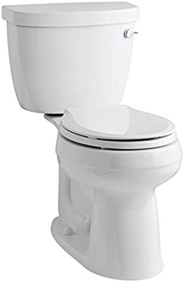 """KOHLER K-3851-RA-0 Cimarron Comfort Height Two-Piece Round-Front 1.28 Gpf Toilet with Aquapiston Flush Technology, 10"""" Rough-In and Right-Hand Trip Lever, White"""