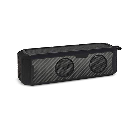 Solar Speaker - Solar Powered Portable Bluetooth Speaker with Carbon Fiber Exterior, 60 hrs Music Playtime, Phone/Tablet Charging Capability, Water Resistant Splash Proof by Reveal Shop (Black)