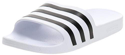 adidas Unisex-Erwachsene Adilette Aqua Badeschuhe, Weiß (Footwear White/Core Black/Footwear White 0), 43 EU