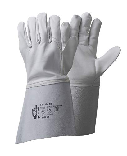 Schweißerhandschuhe aus Nappaleder, mit Stulpe, Größe 10