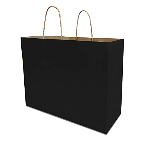 Black Kraft Paper Bags with 80% PCW 16X6X12 25 Pcs. Reinforced Patch Paper Twist Handles for Birthday Parties, Restaurant Take-Outs, Shopping, Merchandise, Party, Retail, Gift Bags