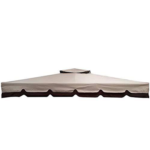 BAKAJI Telo di Copertura per Gazebo 3x4 Mt Colore Beige con Ribalta con Tetto Camino Antivento Telo Impermeabile Antipioggia Doppio Strato Poliestere e PVC, Copertura per Gazebo da Giardino Royal