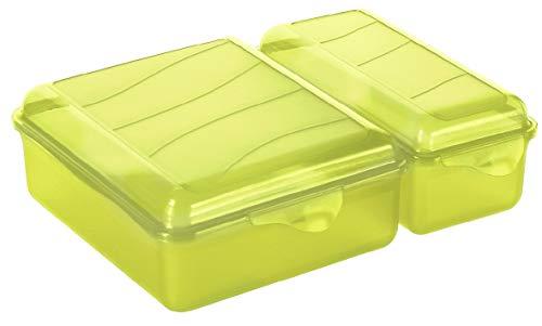 Rotho Fun Vesperdose mit zwei getrennten Fächern, Kunststoff (PP) BPA-frei, grün, 1,05l + 0,55l (22,0 x 16,5 x 7,0 cm)