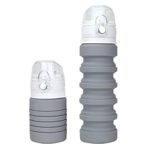 XINXI-MAO Herramientas de Camping Taza de Viaje Plegable de Silicona con Tapa Tapa para Beber Copa Extensible para Beber, portátil (Color : Gray)