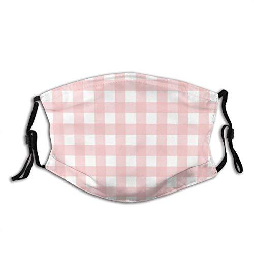 Mundschutz Unisex Gesichtsbedeckung, Rosenquarz Pink & Weiß Gingham Check Wiederverwendbare Mundhülle Atmungsaktive Sturmhaube
