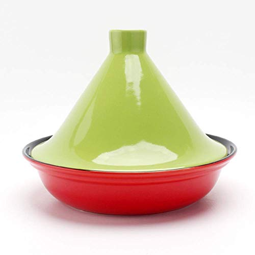 ZHHZ Cazuela de cerámica marroquí Olla de cocción Lenta de 25 cm con Tapa de cerámica para cocinar y Cacerola, D