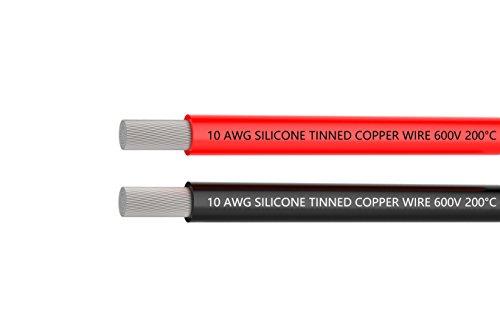 elektrische kabel 10 awg silikon draht haken auf draht kabel 3 m (1,5 m schwarz und 1,5 m] weich und flexibel verrotten 1050 str ä hnen verzinnt kupfer draht von hoher temperaturbest ä ndigkeit