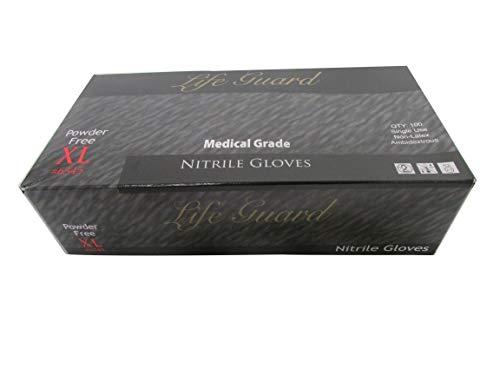 LiFEGUARD Nitrile Gloves # 6345 Medical Grade Color Black Size XL 100 PK